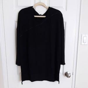Zara black sweater with faux leather detail
